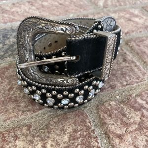 Guess Black Bejeweled Belt